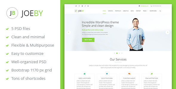 ThemeForest JoeBy One Page Business PSD Template 6198081