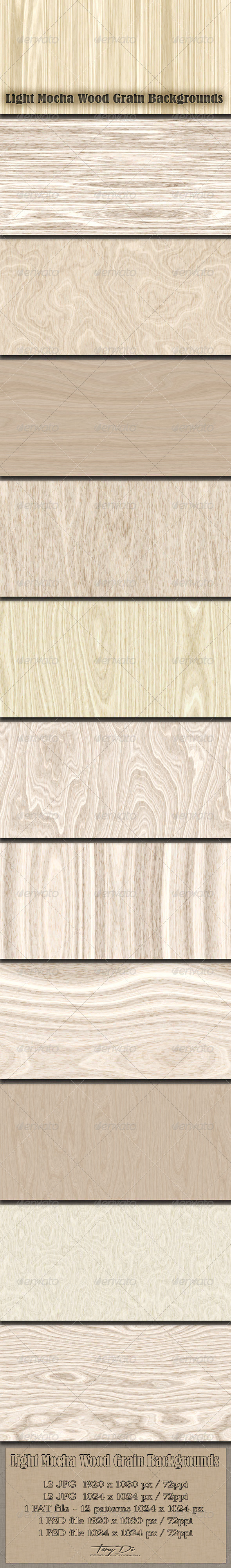 Light Mocha Wood Grain Patterns - Miscellaneous Textures / Fills / Patterns