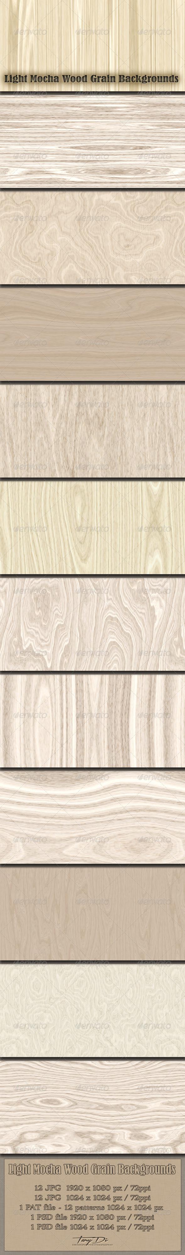 GraphicRiver Light Mocha Wood Grain Patterns 6198473