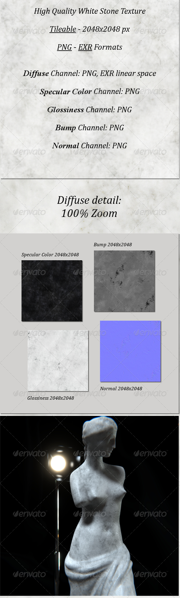 3DOcean Tileable Smooth White Stone HighRes 6198580