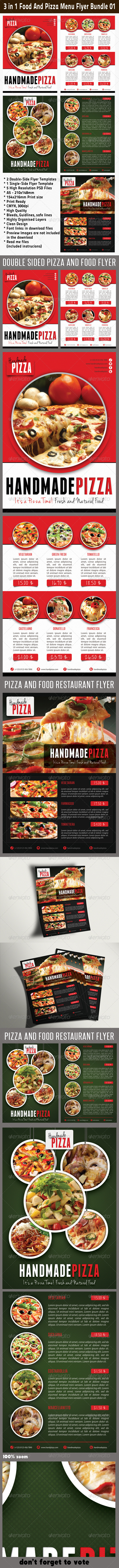 GraphicRiver 3 in 1 Food And Pizza Menu Flyer Bundle 01 6198588