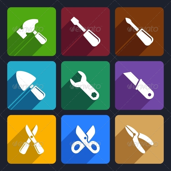 GraphicRiver Working Tools Flat Icon Set 12 6199086