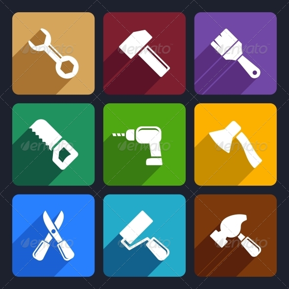 GraphicRiver Working Tools Flat Icon Set 13 6199088