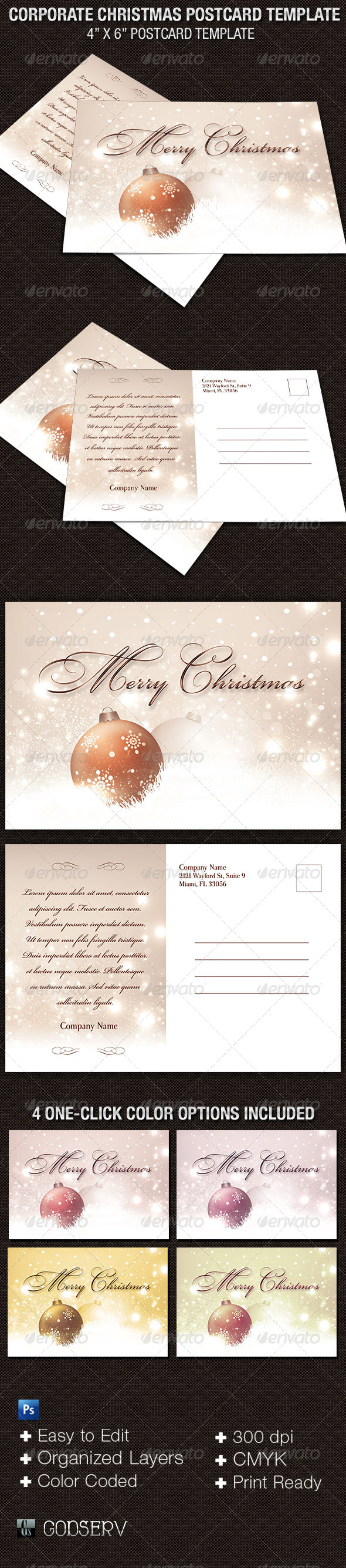 Corporate Christmas Postcard Template  - Holidays Events