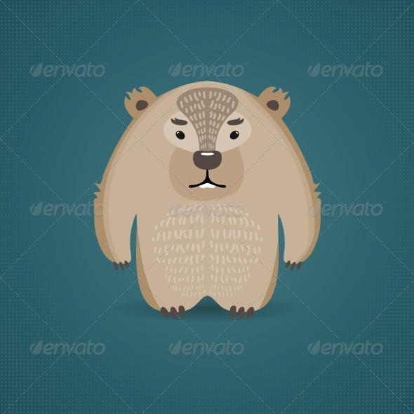 GraphicRiver Cartoon Wombat on Dark Blue Background 6199142