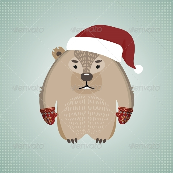 GraphicRiver Hipster Wombat Wearing Santa s Hat 6199148