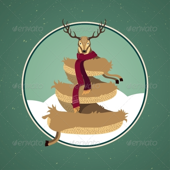 GraphicRiver Christmas Card Design with Reindeer Tree 6199251
