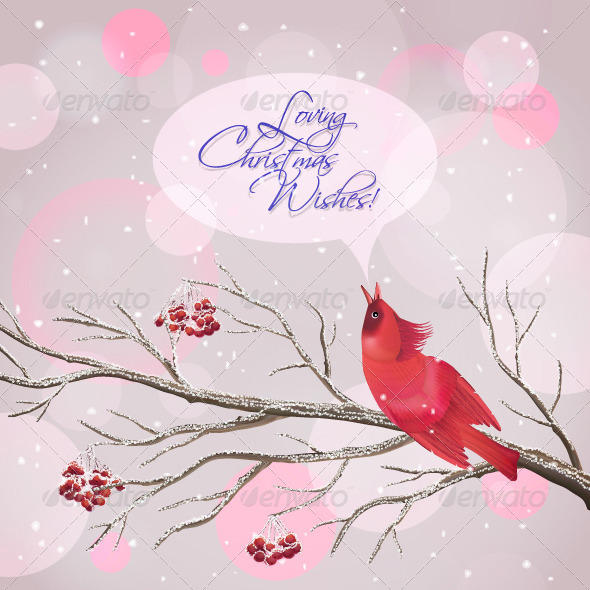 GraphicRiver Christmas Vector Snowy Rowan Branches and Bird 6199252