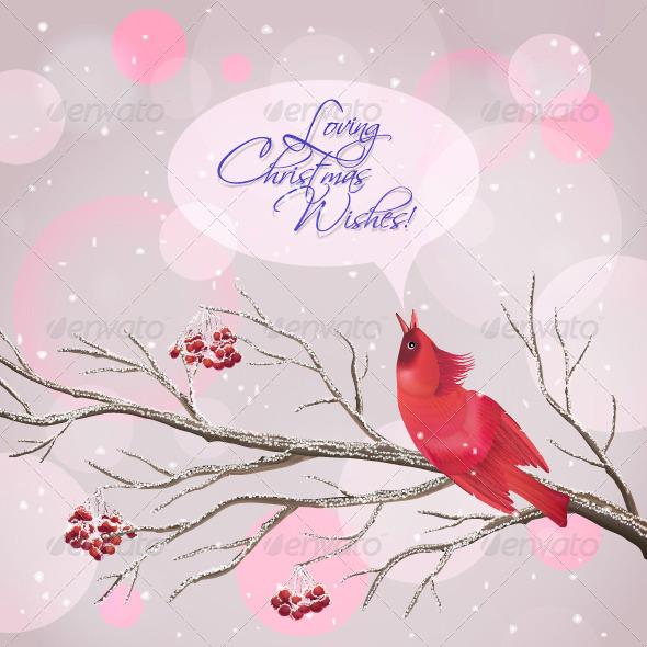 Christmas Vector Snowy Rowan Branches and Bird