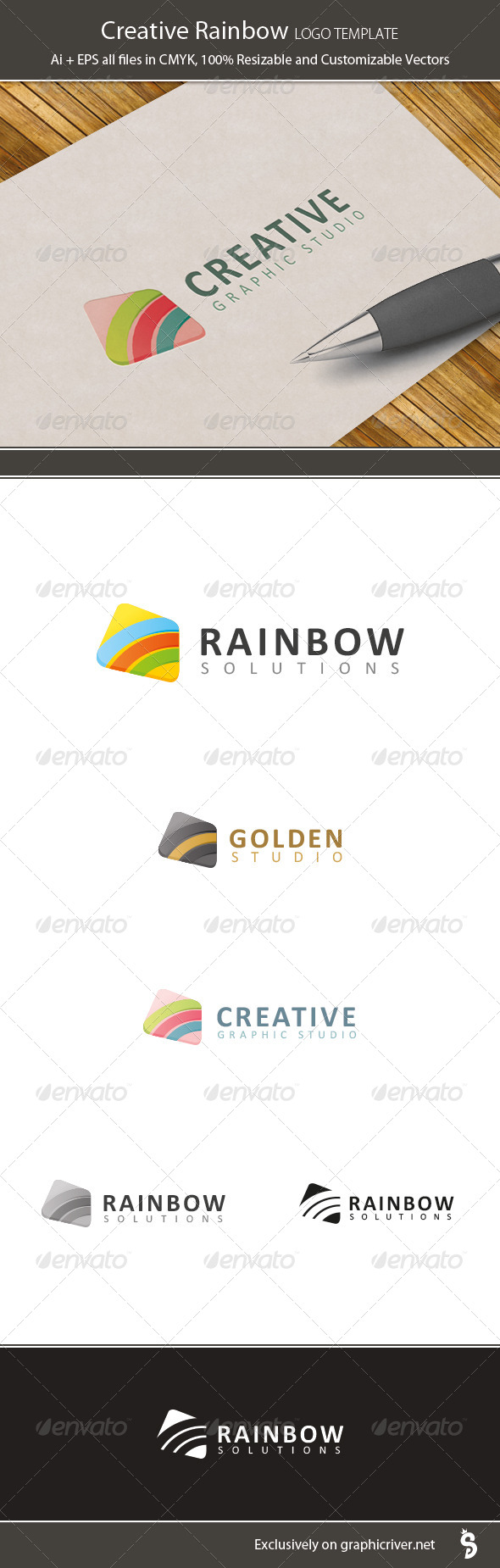 Creative Rainbow Logo Template - Vector Abstract
