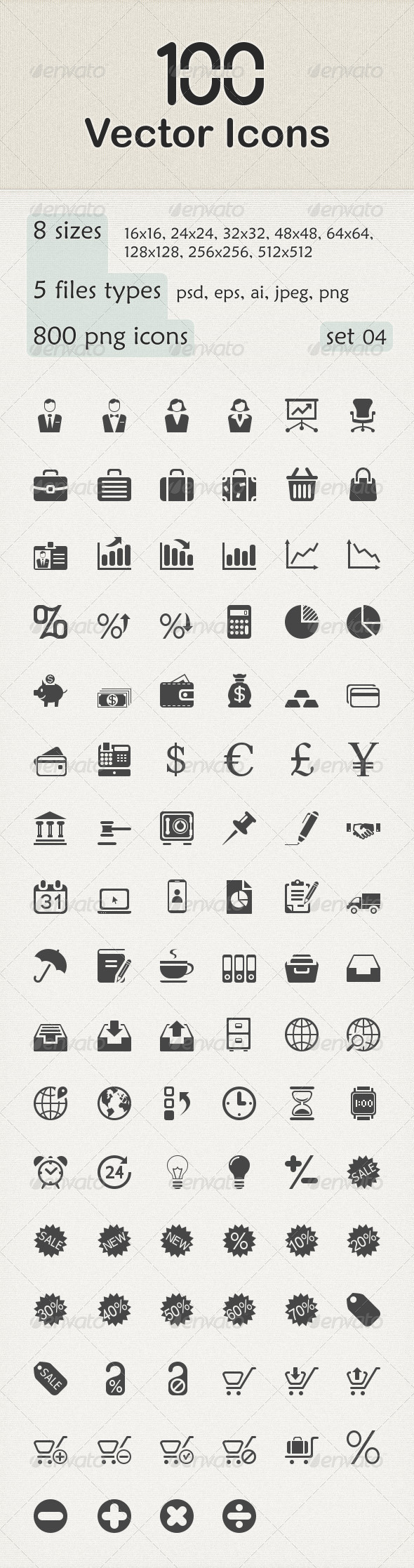 GraphicRiver 100 Vector Icons 6199502