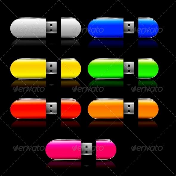 GraphicRiver Set of Usb Flash Drive Multicolor 6199675
