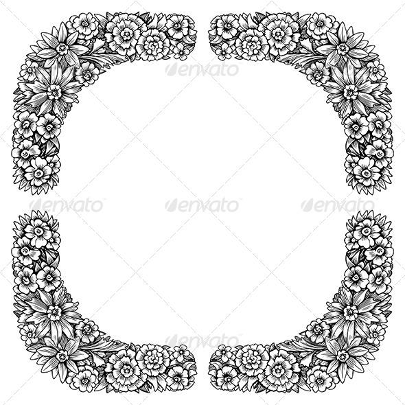 GraphicRiver Floral Decorative Frame 6199898