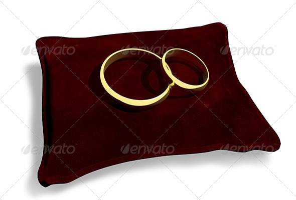 GraphicRiver Wedding Rings on a Red Cushion 6199977