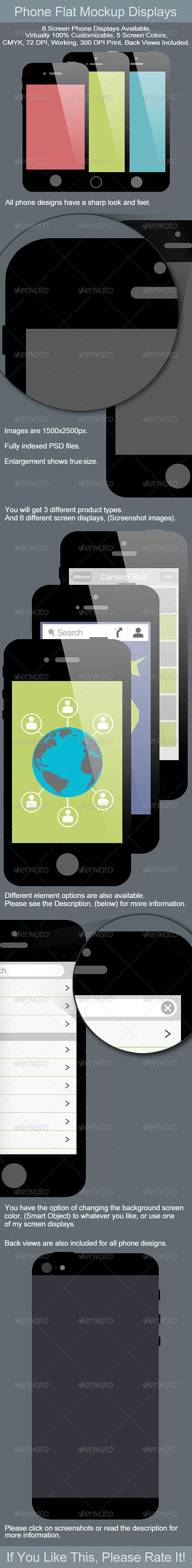 Phone 4 5 and 5s Flat Mockup Displays