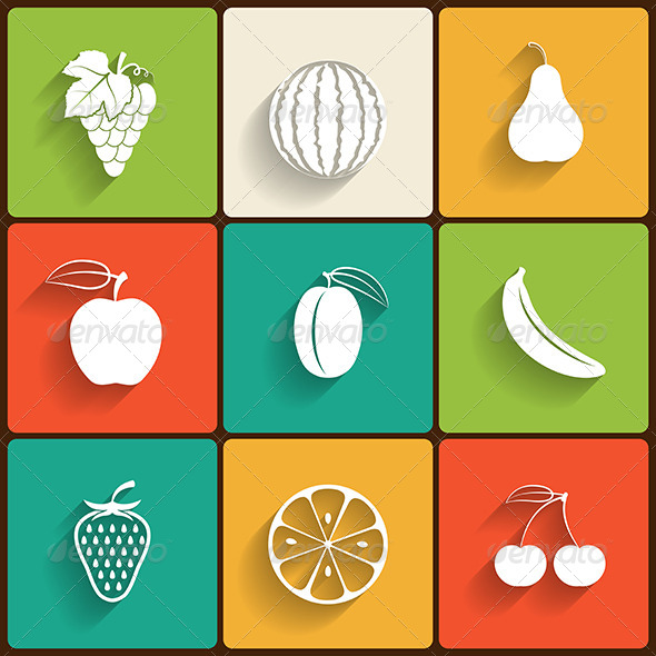GraphicRiver Fruits Flat Icon Set 6200186