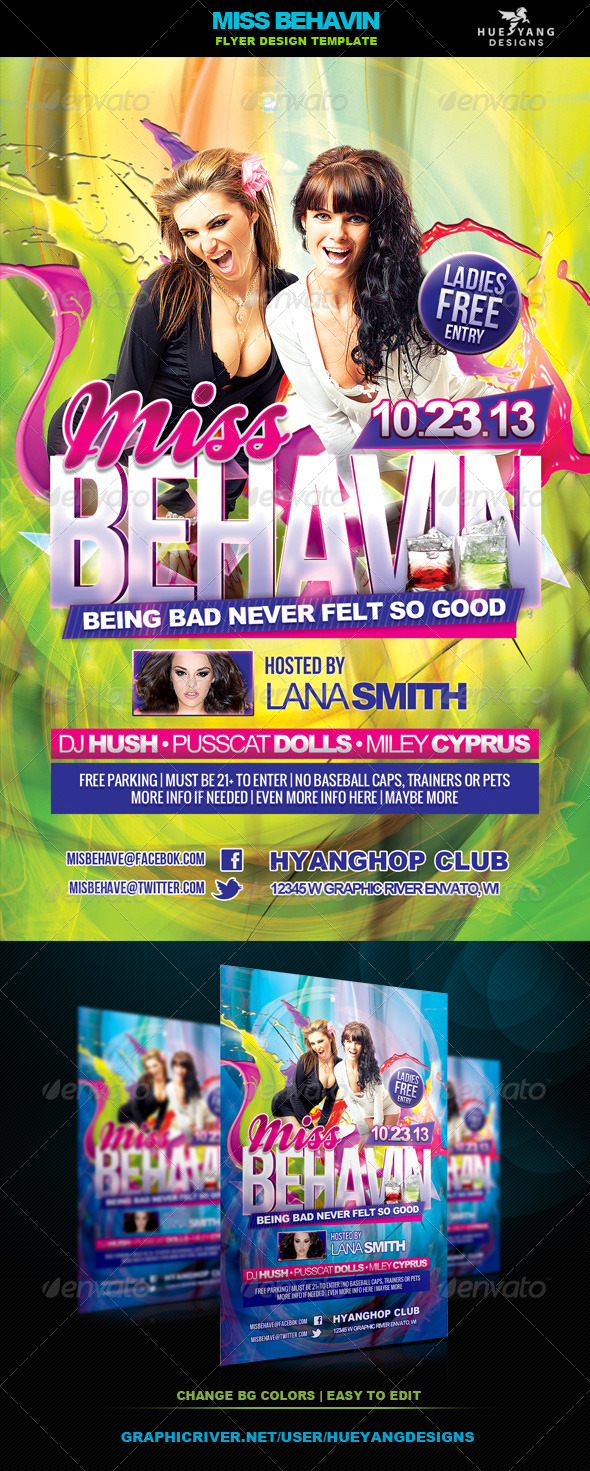 Miss Behavin Flyer - Clubs & Parties Events