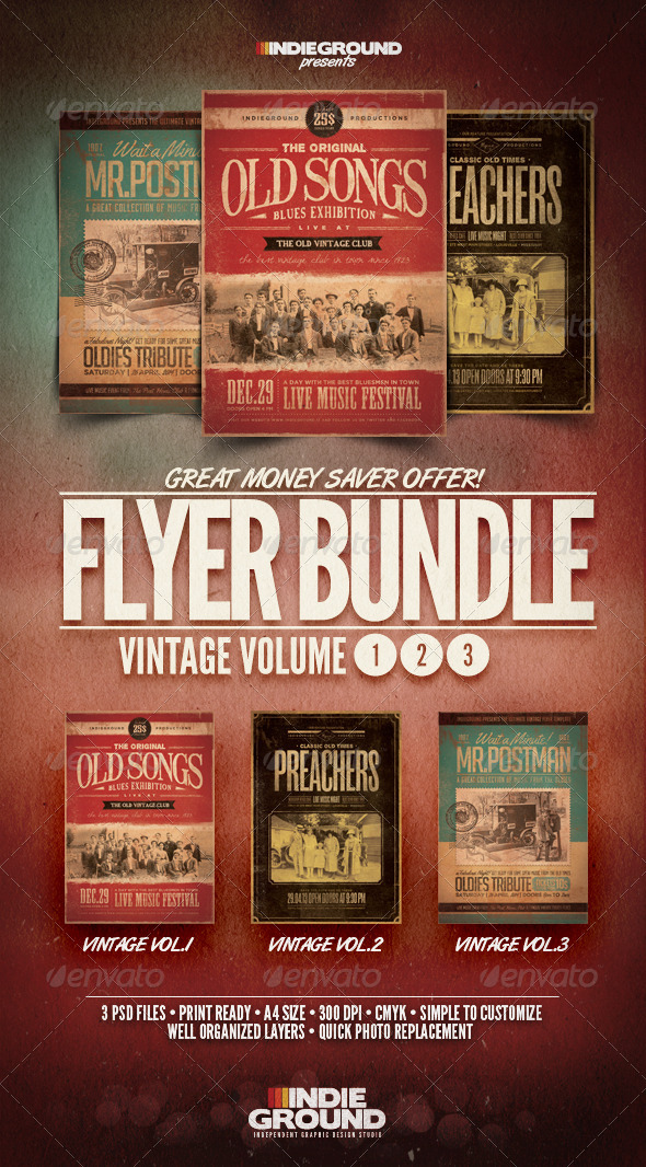 Vintage Flyer/Poster Bundle Vol. 1-3 - Events Flyers