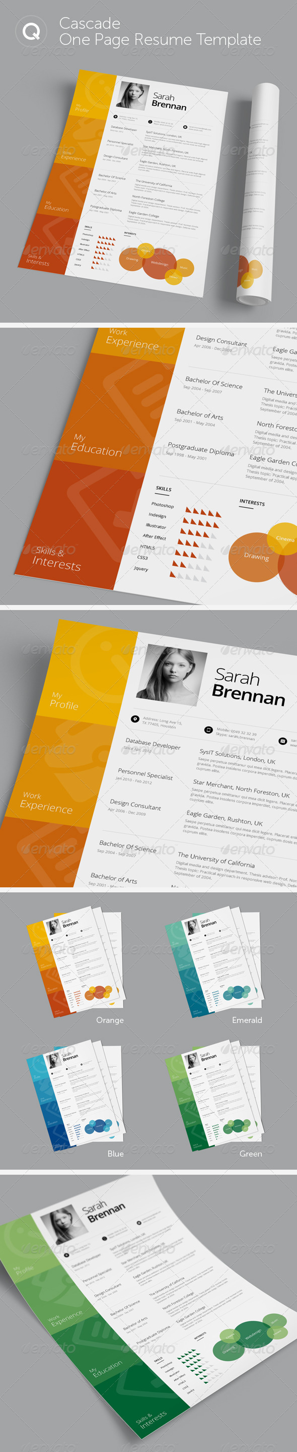 GraphicRiver Cascade One Page Resume Template 6200526