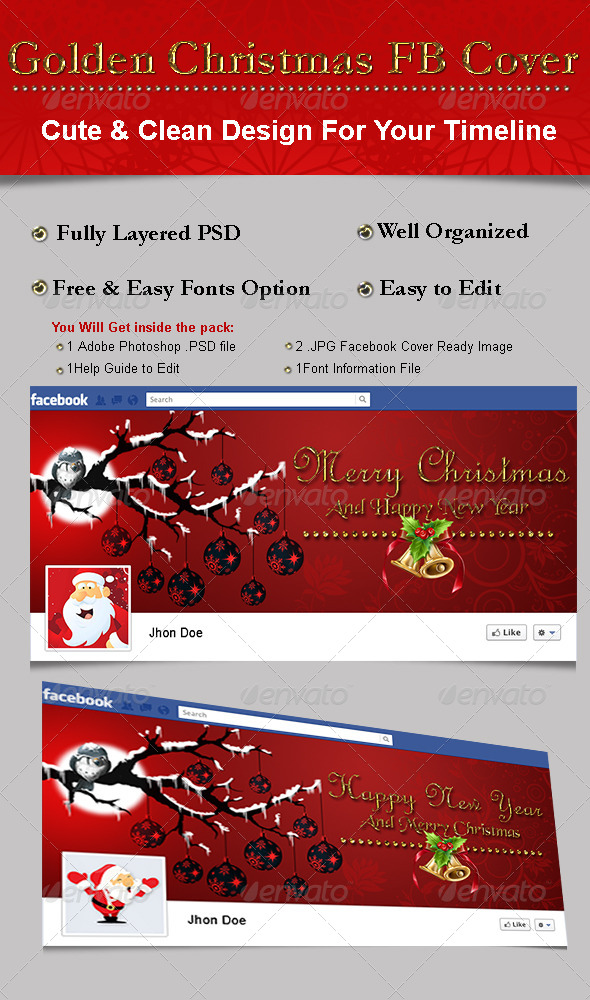 GraphicRiver Golden Christmas FB Cover 6200958