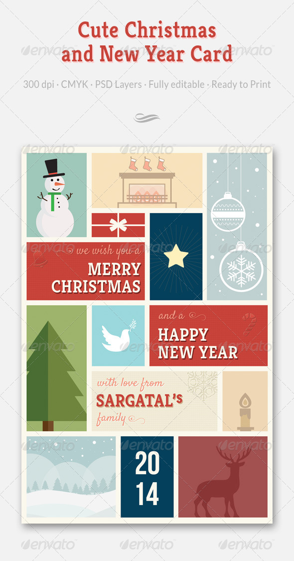 GraphicRiver Cute Christmas and New Year Card 6201114