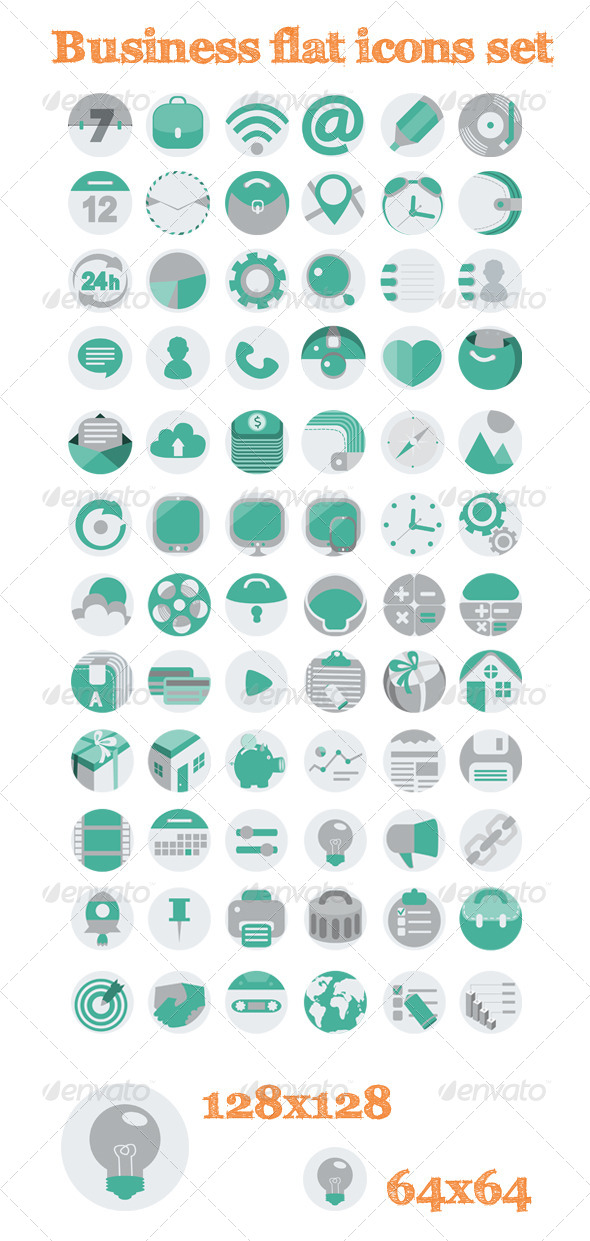 GraphicRiver 72 Business Flat Icons Set 6201129