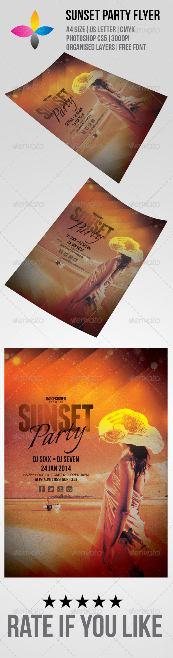 GraphicRiver Sunset Party Flyer 6201215