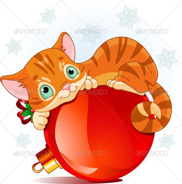 GraphicRiver Christmas Kitten 6201623