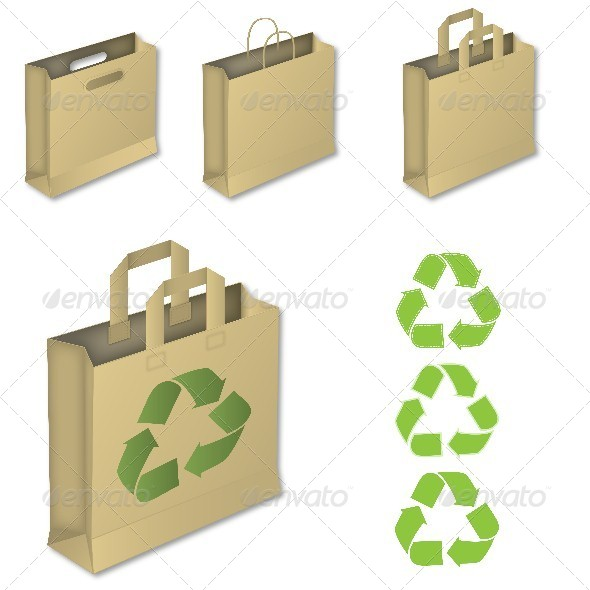 GraphicRiver Four Brown Paper Bags with Recycle Symbol 5732101