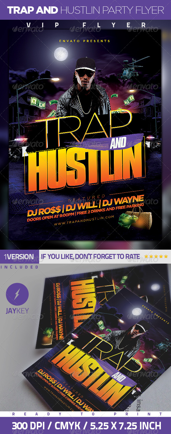 GraphicRiver Trap and Hustlin Party Flyer 6203169