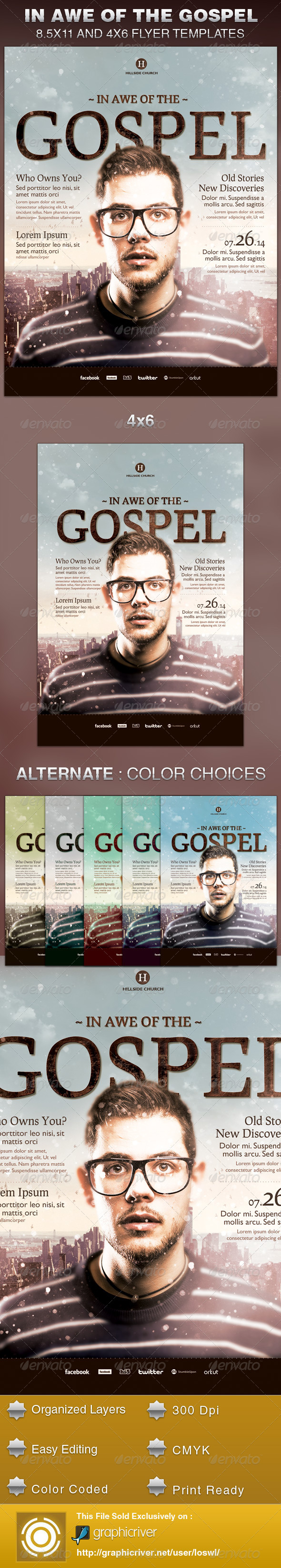 GraphicRiver In Awe of the Gospel Church Flyer Template 6200983