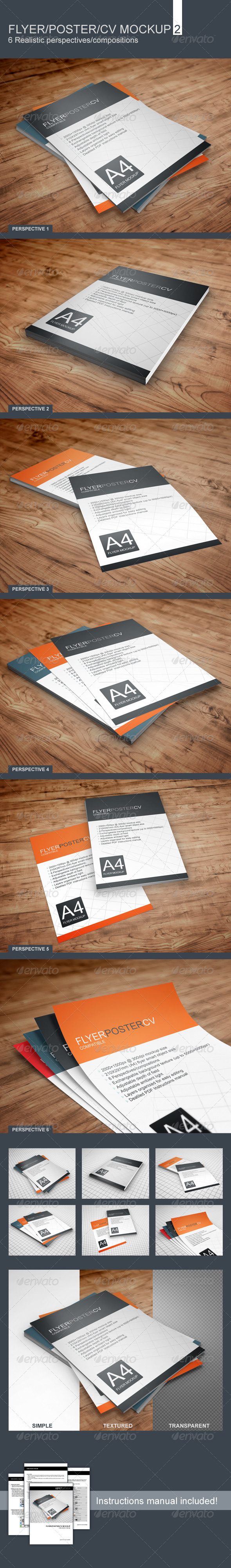 GraphicRiver Realistic Flyer Poster CV Mockup 2 6203442