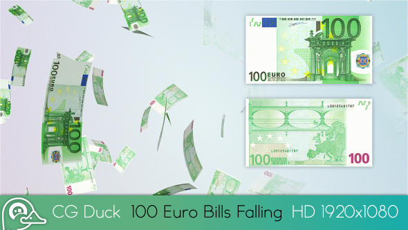 100 Euro Bills Rain