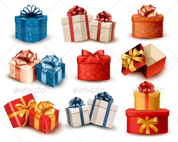 GraphicRiver Set of Colorful Retro Gift Boxes with Bows 6204010