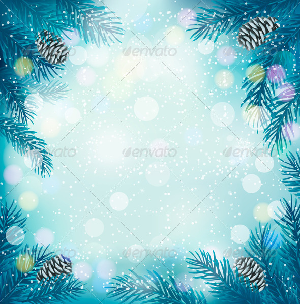 GraphicRiver Blue Christmas Background with Tree Branches 6204021