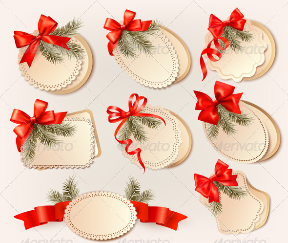 Set of Christmas Gift Cards with Red Gift Bows