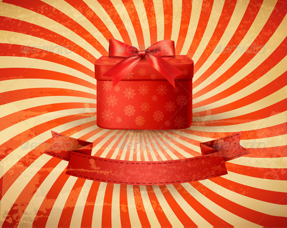 GraphicRiver Vintage Holiday Background with Red Gift Box 6204068