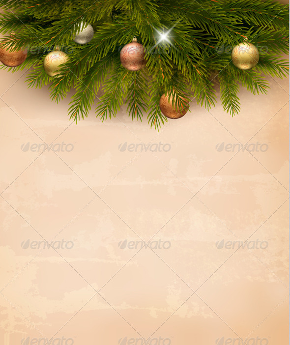 GraphicRiver Christmas Decoration on Old Paper Background 6204077