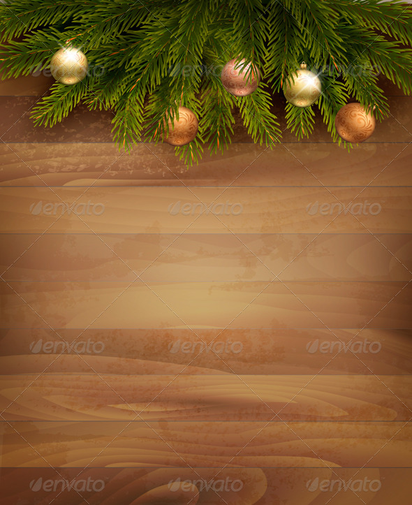 GraphicRiver Christmas Decoration on Wooden Background 6204127