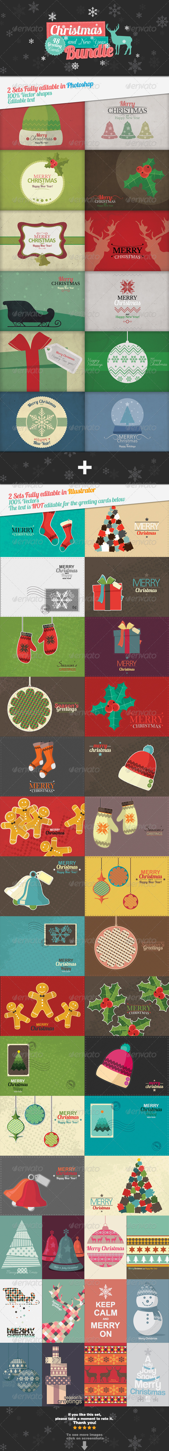 GraphicRiver Christmas and New Year 48 Greeting Cards Bundle 6204224