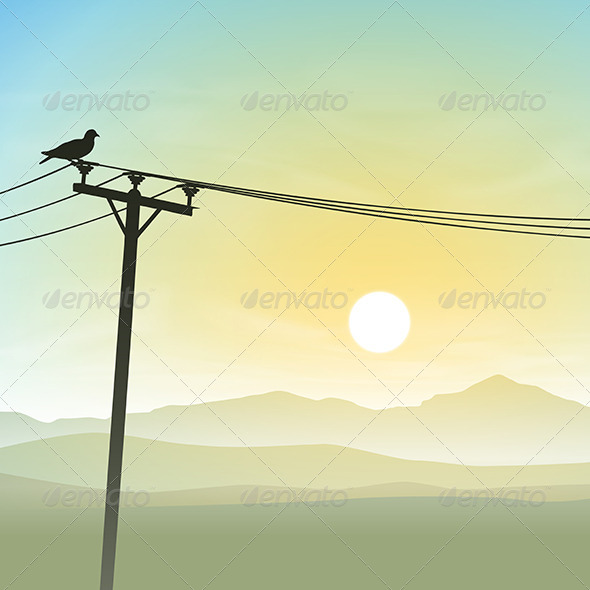 GraphicRiver Bird on Telephone Lines 6204244