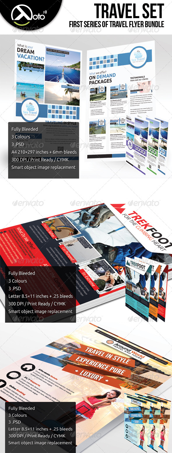 GraphicRiver Travel Flyers Set 6204337