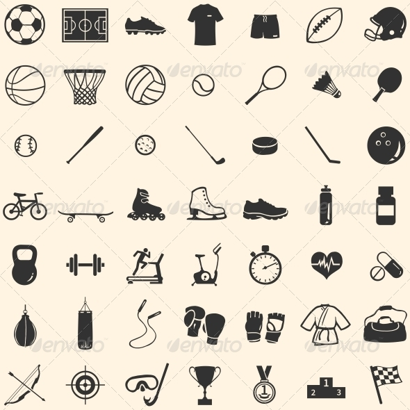 Vector Set of 49 Icons for Sports Store