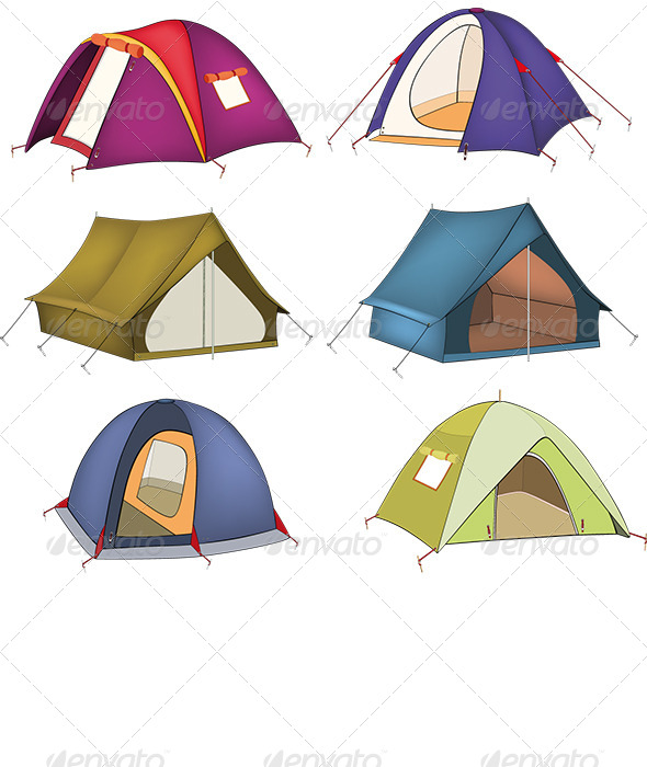 GraphicRiver Set of Tourist Tents 6204477