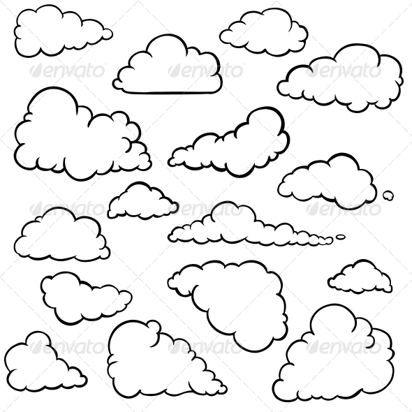 cloud template with lines - outline of weather symbols and names