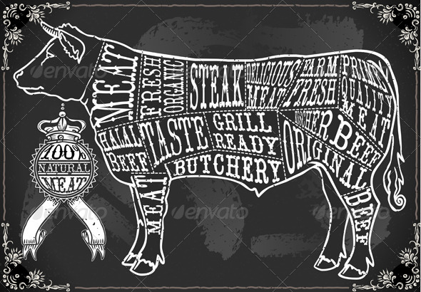 GraphicRiver Vintage Blackboard Cut of Beef 6206370