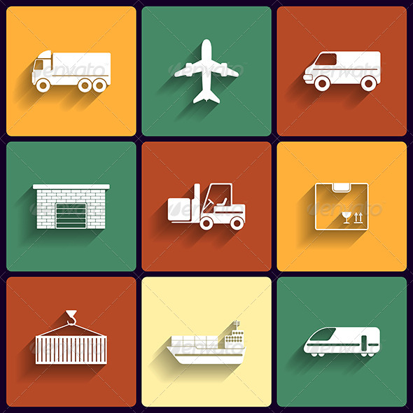 GraphicRiver Vehicle Transport and Logistics Flat Icons 6200233