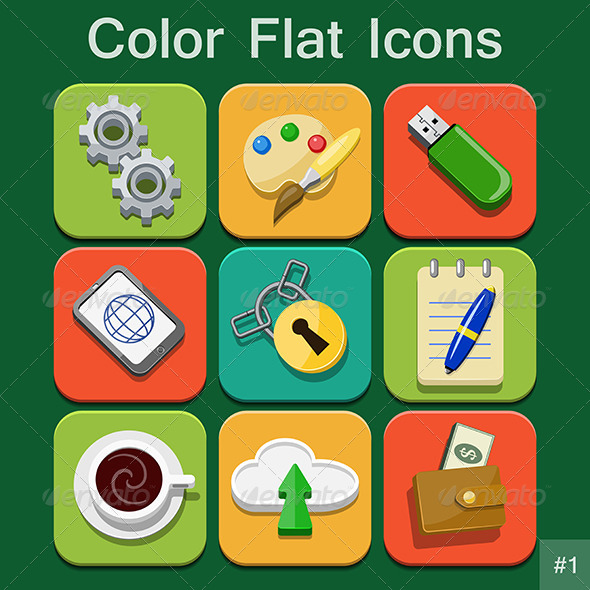 GraphicRiver Universal Color Flat Icons 6206469