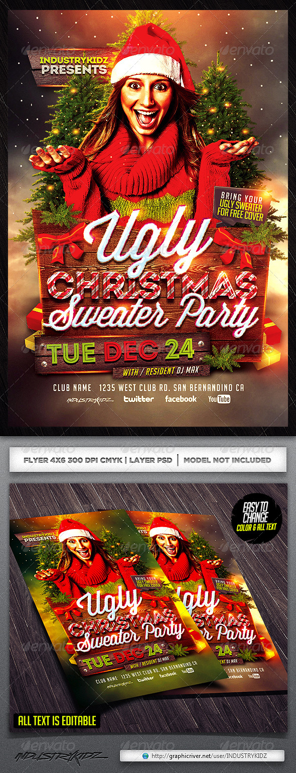 Ugly Christmas Sweater Party Flyer Template - Clubs & Parties Events