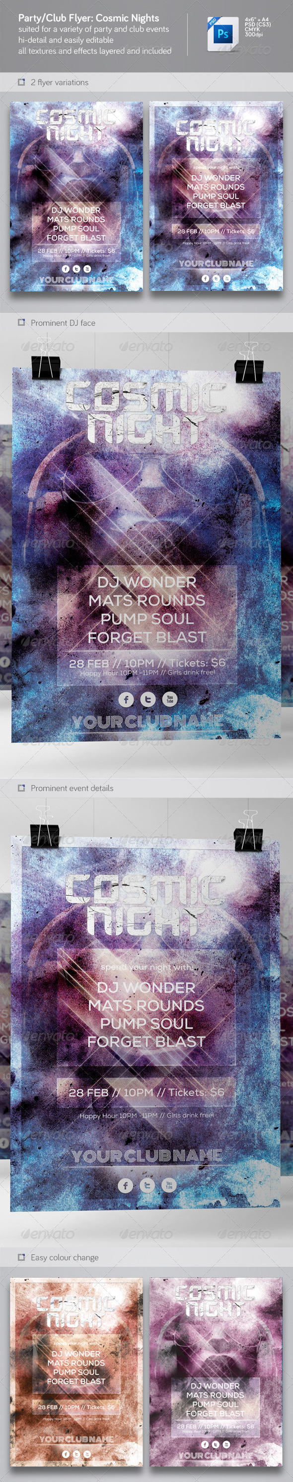 GraphicRiver Party & Nightclub Flyer Cosmic Nights 6207507